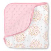 Двусторонний плед SwaddleDesigns Luxe Muslin/plush, цвет Floral Pink