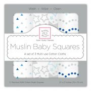 Комплект пеленок SwaddleDesigns Muslin 3 шт, цвет Starshine Blue