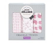 Комплект пеленок Julius Zollner Swaddle 3 шт, цвет Elefant rosa